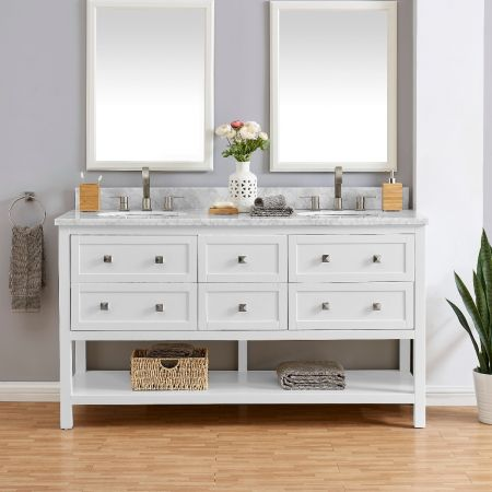6 Drawer Double Vanity Unit/White Marble-White