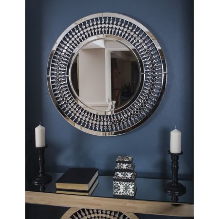 Crystal 3ft Round Mirror