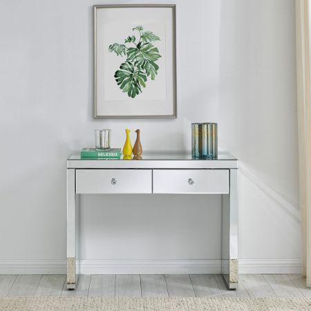Hollywood Glass 2 Drawer Console Table