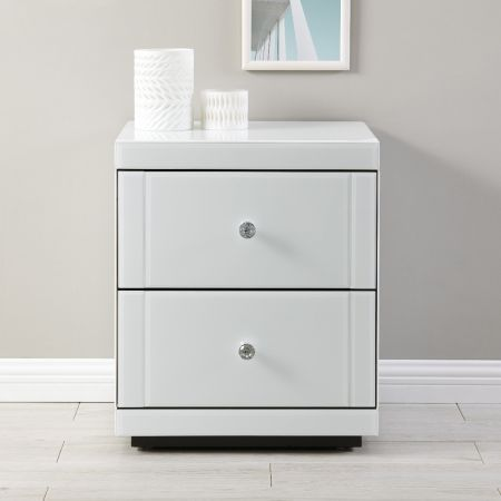 Hollywood 2 Drawer End Table-White
