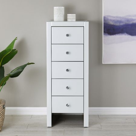 Hollywood 5 Drawer Tallboy-White