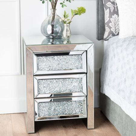 Crackle 3 Drawer Side Table - Glass