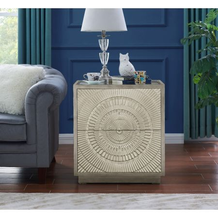 Frenso 2 Drawer Side Table-Silver