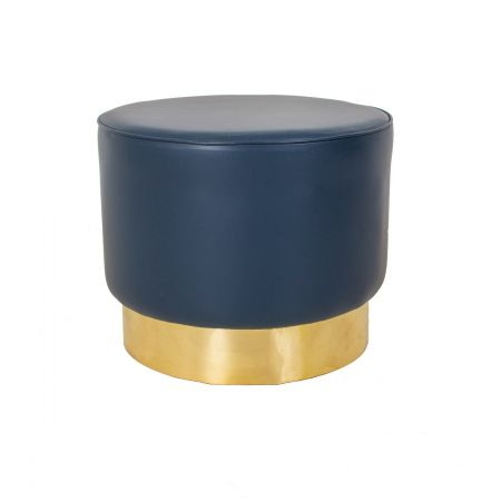 Low Drum Stool With Brass Trim