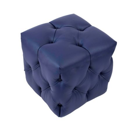 Low Hand Quilted Buttoned Cube Stool