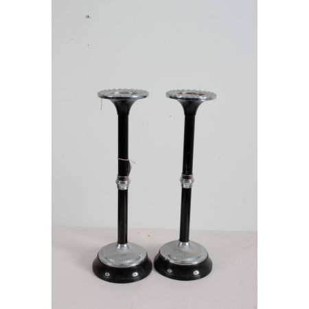 Chrome and black lacquer candlesticks
