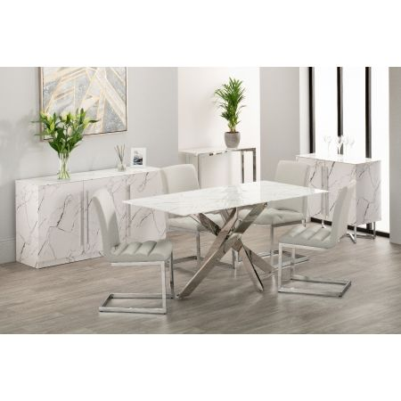 Arlo Dining Table + 4 Chairs - Grey