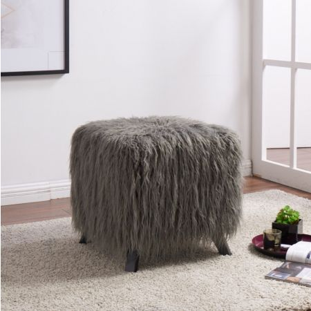 Heavy Shag Faux Sheepskin Cube Stool- Grey
