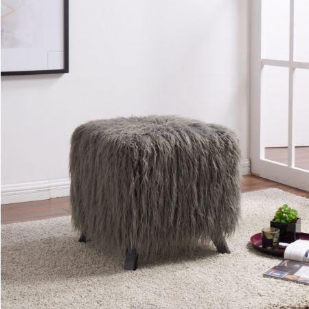Heavy Shag Faux Sheepskin Cube Stool- Grey