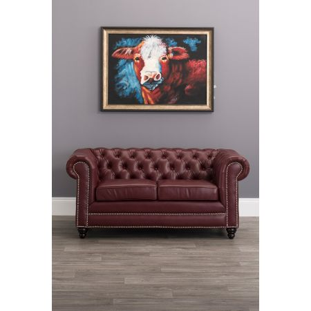 Faux Leather Chesterfield 2 Seater Sofa-Ox blood Red