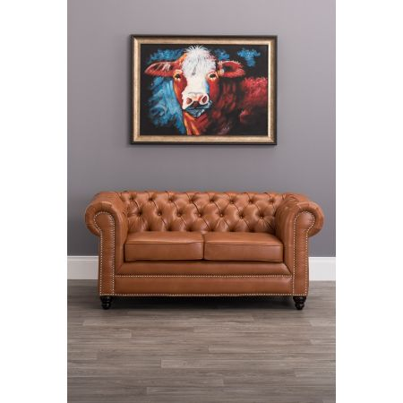 Faux Leather Chesterfield 2 Seater Sofa-Tan
