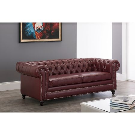 Faux Leather Chesterfield 3 Seater Sofa-Ox blood Red