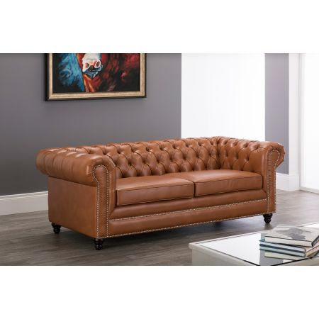 Faux Leather Chesterfield 3 Seater Sofa-Tan