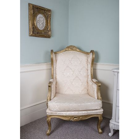 Queen Anne Wingback - Gold Damask