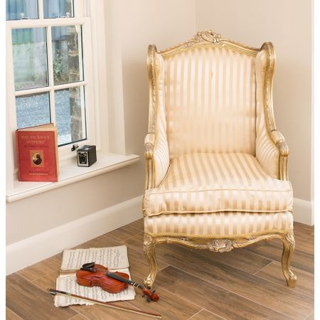 Queen Anne Wingback - Gold Stripe
