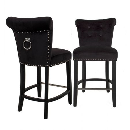 Knocker Back Breakfast Bar Stool - Black Velvet