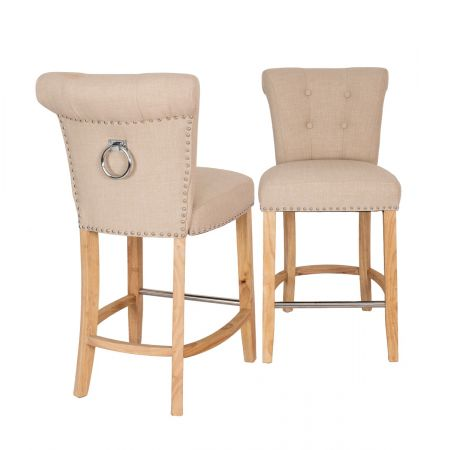Knocker Back Breakfast bar stool - Beige Linen