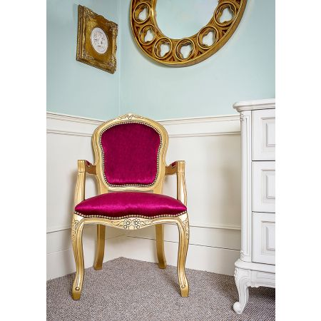 French Louis Armchair- Gold Red Velvet