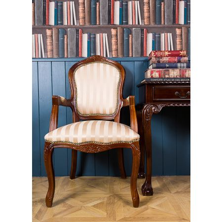 French Louis Armchair - Mahogany Gold Stripe