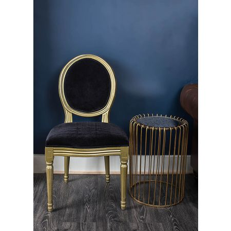 French Louis Side Chair - Gold & Black Velvet
