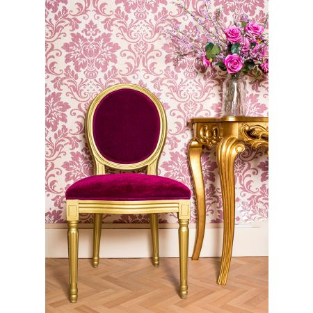 French Louis Side Chair - Gold & Red Velvet