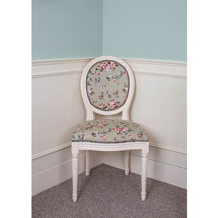 French Louis Side Chair - Ivory Green Floral