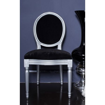 French Louis Side Chair-  Silver & Black Velvet