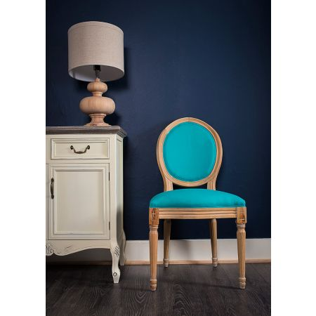 French Louis Side Chair Oak Turquoise