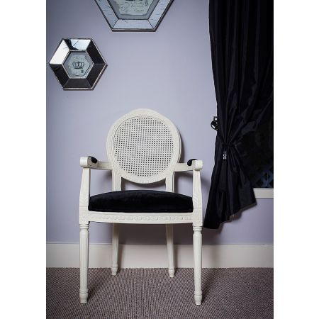 French Louis Armchair Round Back- Ivory Black Velvet Rattan
