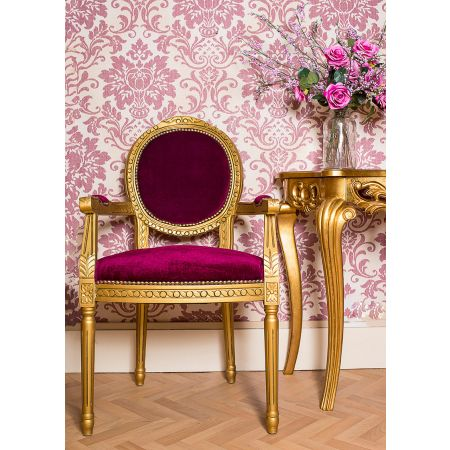 French Louis Armchair Round Back - Gold Red Velvet