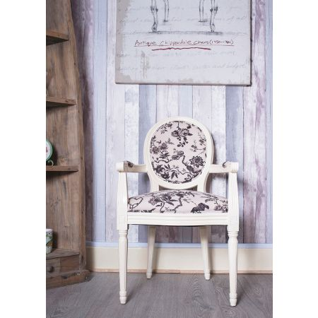 French Louis Armchair Round Back - Ivory Traditional Birds Floral