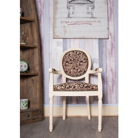 French Louis Armchair Round Back- Ivory Purple Damask