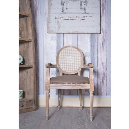 French Louis Armchair Round Back - Oak Brown Check