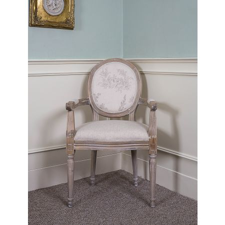 French Louis Armchair Round Back - Oak Beige Floral