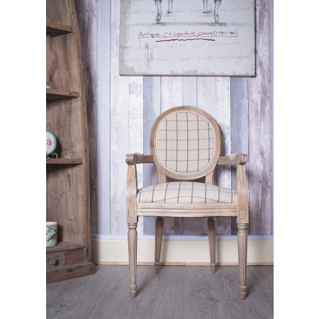French Louis Armchair Round Back- Oak Beige Square