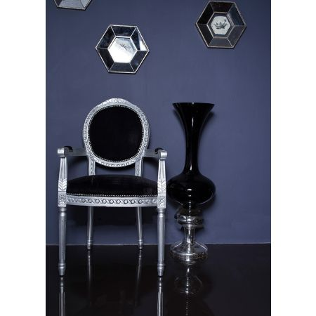 French Louis Armchair Round Back- Silver Black Velvet