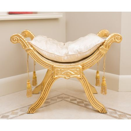 French Window Seat - Gold Damask