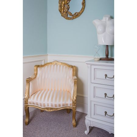 French Louis Tub Chair - Gilt Gold Stripe