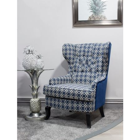 Susi Wingback Blue Geometric