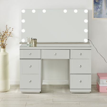 Hollywood Glass Dresser & Tabletop Mirror with Bluetooth Speaker