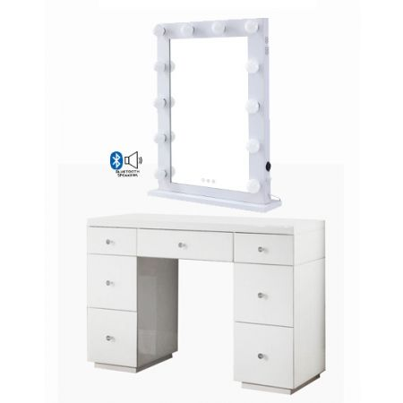 Hollywood White Dresser & Desktop Mirror with Bluetooth Speaker