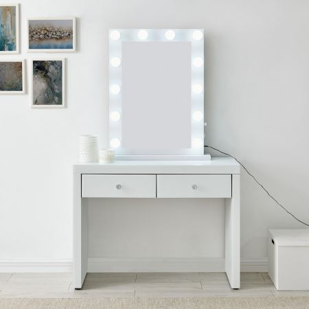 Hollywood White Console & Desktop Mirror with Bluetooth Speaker