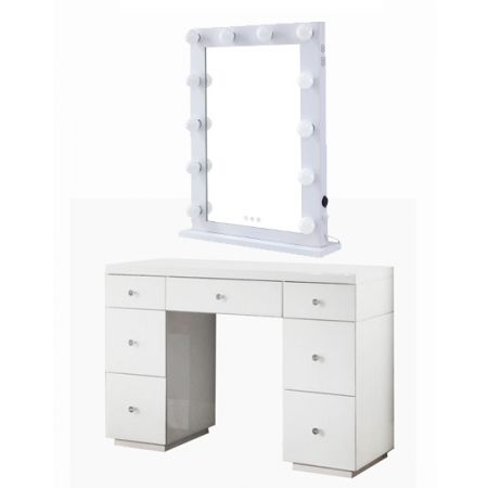 Hollywood White Dresser & Desktop Mirror