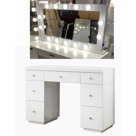 Hollywood White Dresser & Tabletop Mirror with Bluetooth Speaker