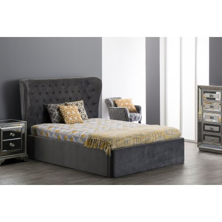 4ft6 Double Roberta Bed-Grey