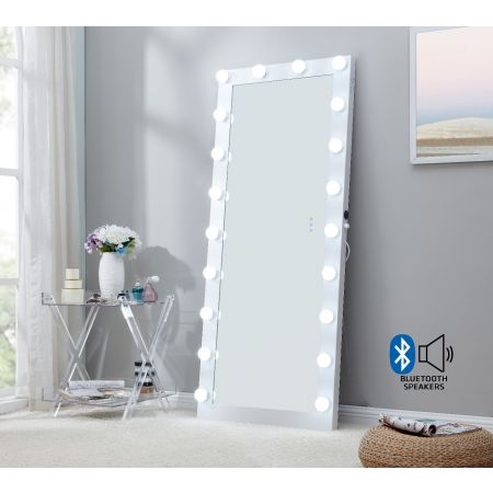 Hollywood Floor Mirror White with Bluetooth Speaker
