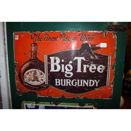 Big tree, The finest flagon wine, Burgundy enamel sign