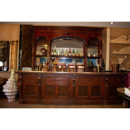 Large mahogany and copper top bar