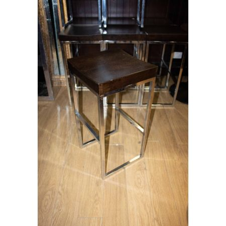 Chrome frame and wooden seat high stool