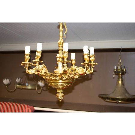 10 branch brass chandelier